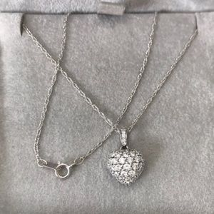 Jewelry - Paved puff diamond heart necklace